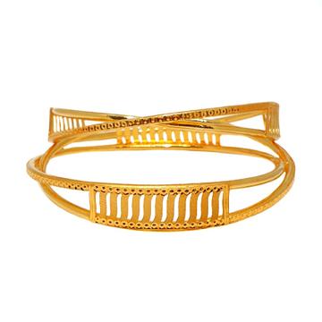 22K Gold Plain Kadali Bangles MGA - GK0068