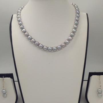 Freshwater GreyButton Pearls 1Lines Necklace Set JPP1026