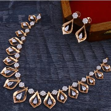 18 carat rose gold delicate diamond necklace set RH-NS566