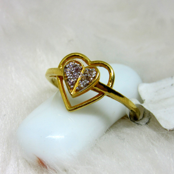 Gold couple heart ring