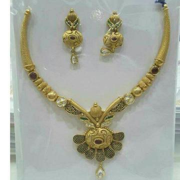 22KT/916 Antique Gold Ladies Attractive Necklace Set Yellow