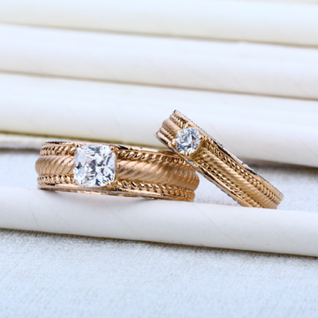 18K Special Rose Gold Cz Couple RING-RCR03