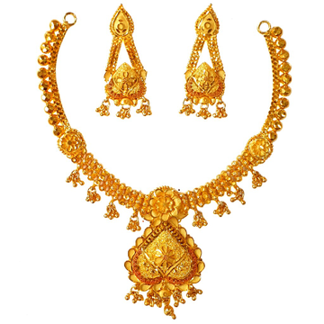 1 Gram Gold Forming Kalkatti Necklace Set MGA - STE0106