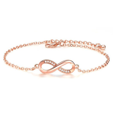 18kt rose gold infinity symbol with diamond chain bracelet for women jkb023