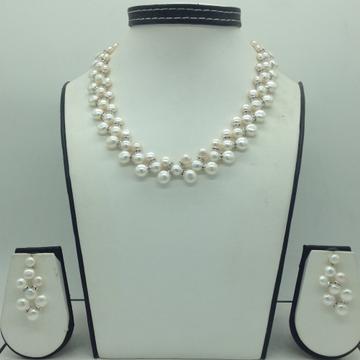 Freshwater whitebutton pearls zigzag necklace set jpp1004