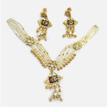916 Gold Antique Pearl Jewellery Set RHJ-5005