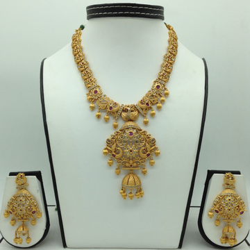 White and Red CZ Antique Necklace Set JNC0121