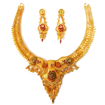 One gram gold forming necklace set mga - gfn004