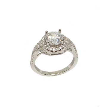 925 Sterling Silver Solitaire Diamond Ring MGA - LRS3510
