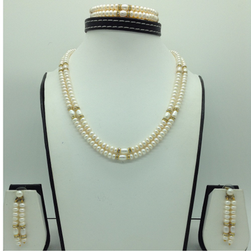 Freshwater White Flat2Lines Pearls ChakriFull Set JPP1073