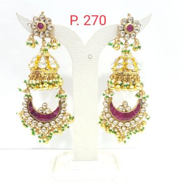 Bridal flower design pink stone & beads jhumka earring 1619