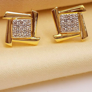 18KT Yellow Gold fancy square casual ware earrings... by