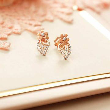 18KT Rose Gold Fancy casual ware flower earrings f... by