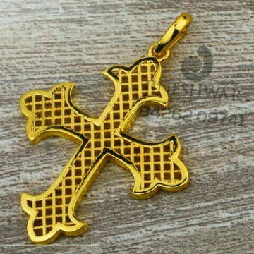916 Plain Gold Cross fancy Pendant