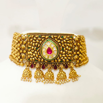 Full choker with antique kundan work ruby and emerald and ruby stone necklace set 1397