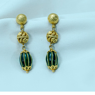22KT Gold green stone Earring MM-80 by