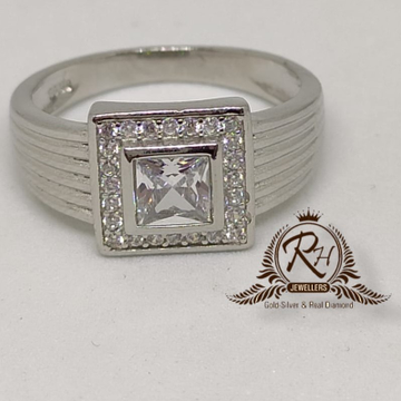 92.5 silver white stond daimond gents ring Rh-Gr948