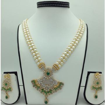 White,green cz ranihaarset with buttonjali pearls mala jps0589