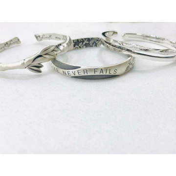 999 sterling silver dull finish&oxodize mix combination dezigning love never fails writting kada ms-2805