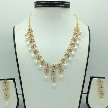 White ,RedCZ Stones And Tear Drop Pearls Necklace Set JNC0151