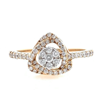 18kt / 750 rose gold solitaire look diamond ring f...