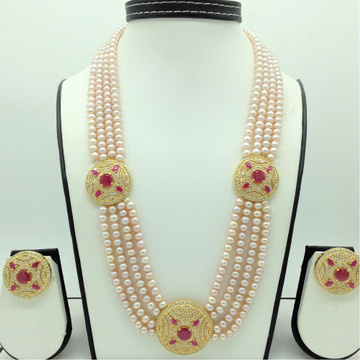 White ,Red CZBroochSet With 4Lines PinkPearls...