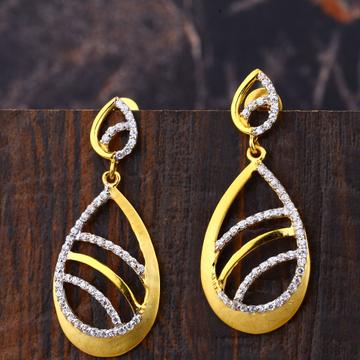 Ladies 22K Gold Fancy Long Earrings -LFE191