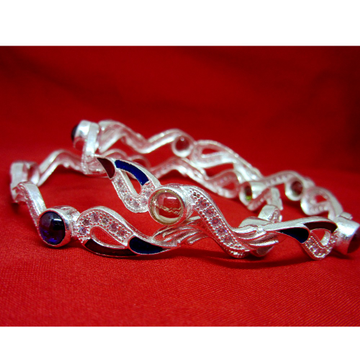 Silver 925 round stone meena dailywear bangles sk925-9