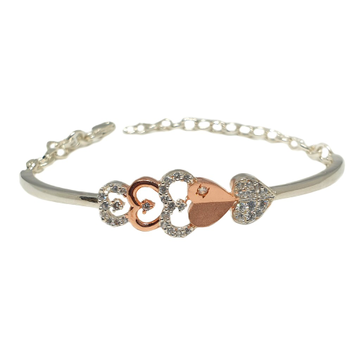 925 Sterling Silver Heart Shaped Matte Finish Bracelet MGA - BRS1819