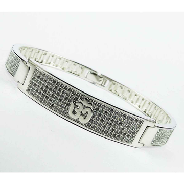 Silver 925 Silver Micro Om Designed Gents Bracelet