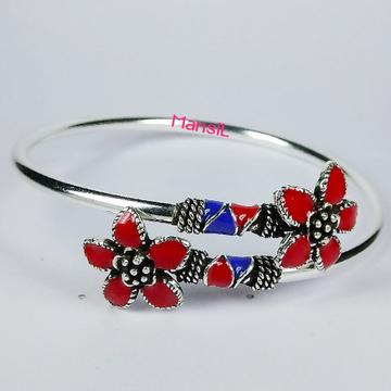 92.5 sterling silver oxidize enamel Kada bracelet ML-85
