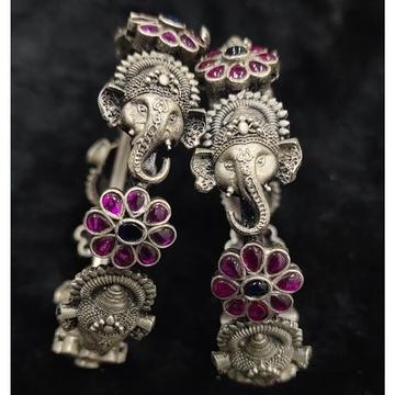 Puran blissful ganesha motifs temple bangles with...