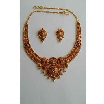 22KT Yellow Ladies Gold Vertical Necklace Set