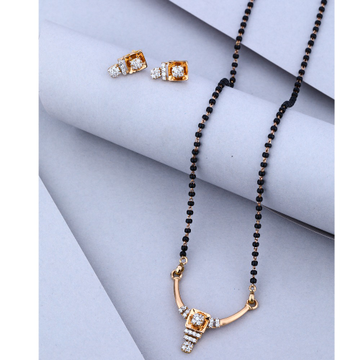 916 CZ Gold Attractive Design Mangalsutra With Earring