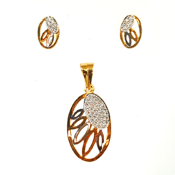 22K Gold Oval Shaped Fancy Pendant Set MGA - PTG0089