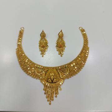 916 Gold Fancy Necklace,Butti RJ-0013 by