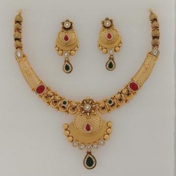 916 gold fancy sawaroxy zinkoriya dimond & antique jadtar short set by Vinayak Gold