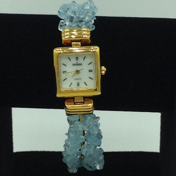 Aquamarine Chips Beeds 2 Layers Watch JBG0217