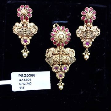22KT yellow Gold Peacock Pendent  set With Meena
