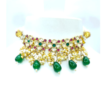Mini choker with hanging emerald stone with antique necklace set 1607