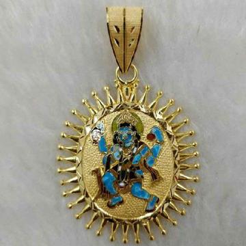 22KT Gold Meenakari Bhairavdada Pendant
