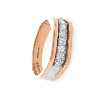 Wedding Band with Princess cut Diamond in 18k Rose gold 0GR3
