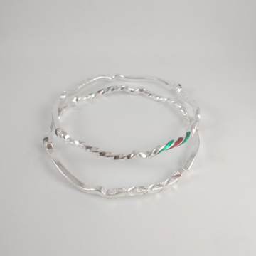 Silver fancy bangles. NJ-B01020