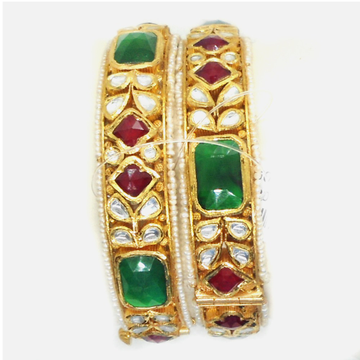 916 Gold Traditional Colorstone Bangles RHJ-6018
