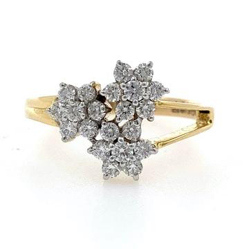 18kt / 750 yellow gold three flower diamond ring f...