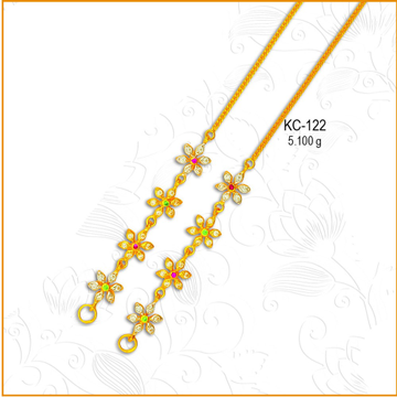916 Gold Attractive CZ Earchain KC-122
