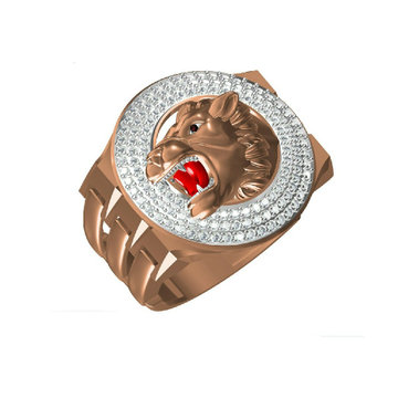 18K Fancy Lion Design Rose Gold Ring-313120