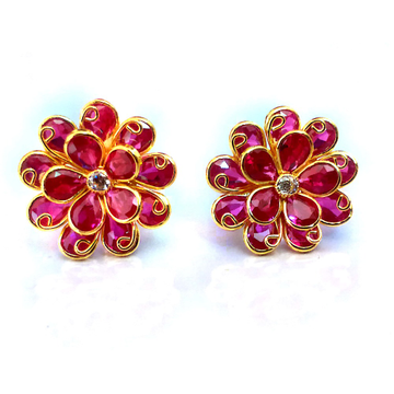 Fancy color stone gold earrings nja-e001