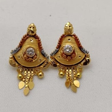 22KT Gold Simple Tops Earring LMJ-911 by Lalit Manohar Jewellers