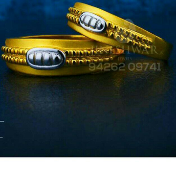 916 Beuty Shiner Plain Gold Couple Ring